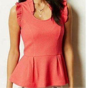 Anthropologie Postmark Isolde Peplum Top Pink M